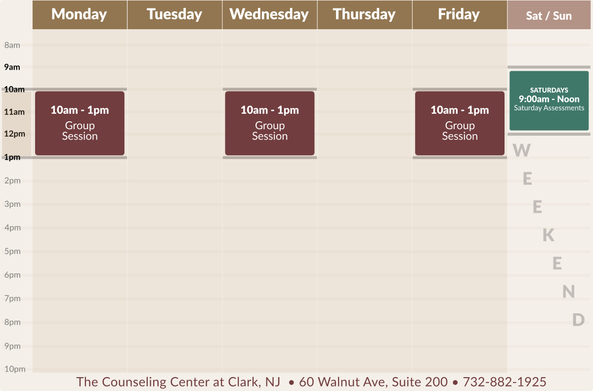 Adult Daytime Intensive Outpatient Therapy Schedule